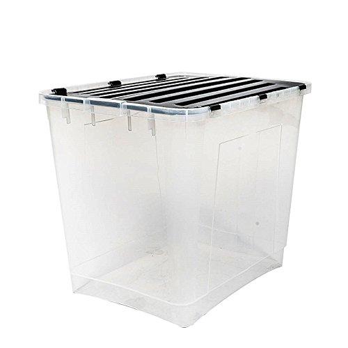 esto24 3 x Aufbewahrungsbox mit Deckel Größe: 100 Liter Ideal für Büro, Kinderzimmer, Küche & Werkstatt
