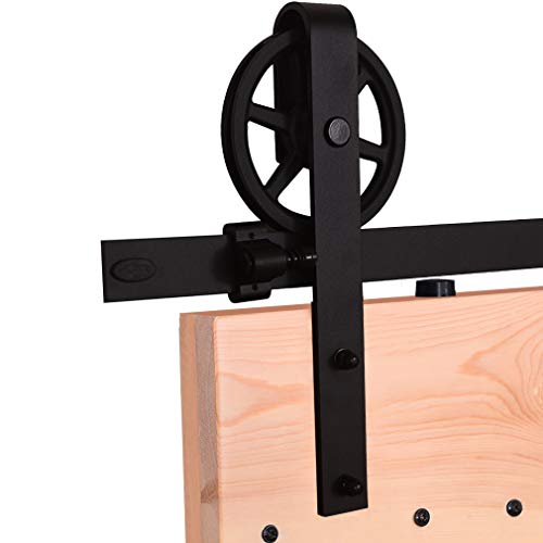 4FT/121cm Schiebe Tür-Hardware-Track-Kit Einzeltür Holztür - Sliding Barn Wood Door Hardware Roller Track Kit For Single Door Big Spoke Wheel Roller Hanger - Tür-hardware Und Schiebe-tür