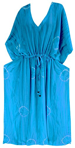 La Leela rayonne cravate usure colorant plage maillots de bain maillot de bain robe de bikini maxi caftan des femmes Bleu