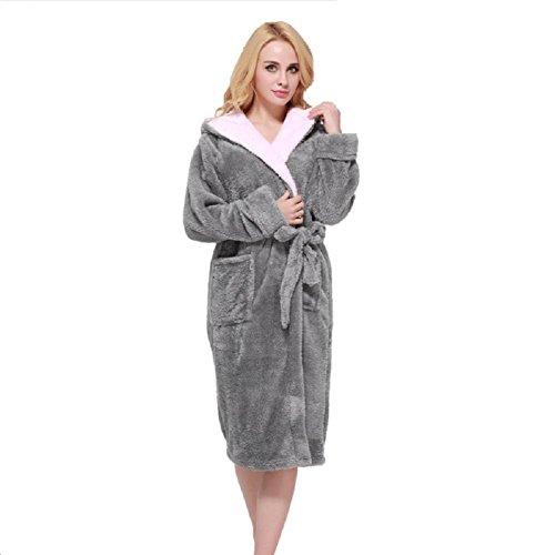 DMMSS Hommes et femmes Hoodies automne et hiver chemise de nuit allongée vêtements épais peignoir corail velours peignoirs de bain chaud pyjama Couple maison dark gray