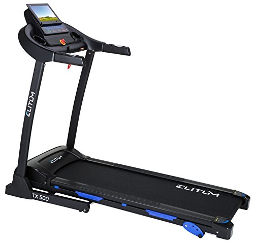 Elitum TX500 elektrisches Laufband Heimtrainer klappbar, Bluetooth 4.0, Smartphone Steuerung, MP3, AUX, Geschwindigkeit: 0,1-14km/h, 12 Trainingsprogramme, bis 150 kg (0.1 Ps Motor)