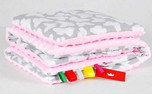 BABYLUX Babydecke MINKY PLÜSCH Kuscheldecke Decke 75 x 60 cm + KISSEN 2 Tlg Set (2. Rosa - Schmetterlinge)