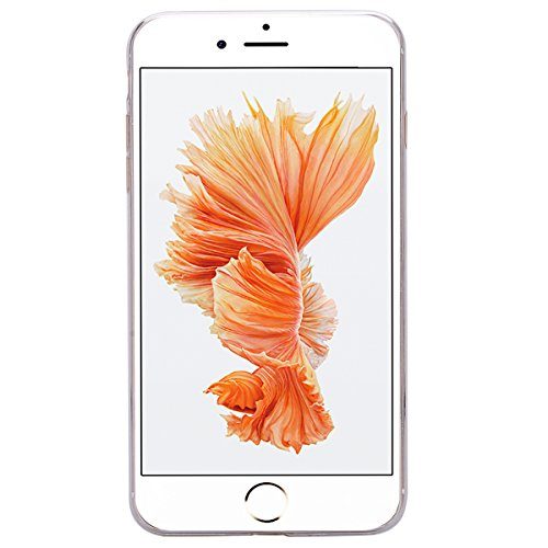 HB-Int für iPhone 7 Plus Weich Silikon Back Hülle Bling Pailletten Transparent Durchsichtige Dünn Schutzhülle Rot Flexible Case Glatt Schale Full Body Bumper Shell Handytasche Silber