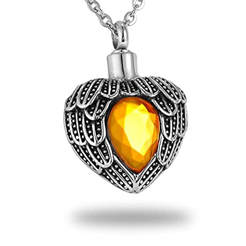 HooAMI Angel Wing Diamond Heart Pendant Necklace for Ashes Keepsake Stainless Steel Cremation Jewellery Urn