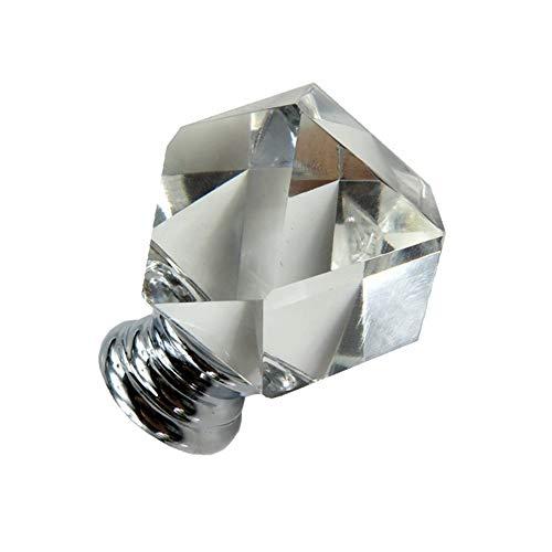 6 Stücke Kristallglas Schublade Knöpfe Stoßgriff Achteckigen Platz Küchenschrank Knöpfe für Hauptschrank Dekoration (Silber) (Glas Knöpfe Und Zieht)
