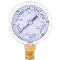Calibrador de presión hidráulico Mini Dial para combustible de aceite de agua 0-30psi/0-2bar Montaje inferior