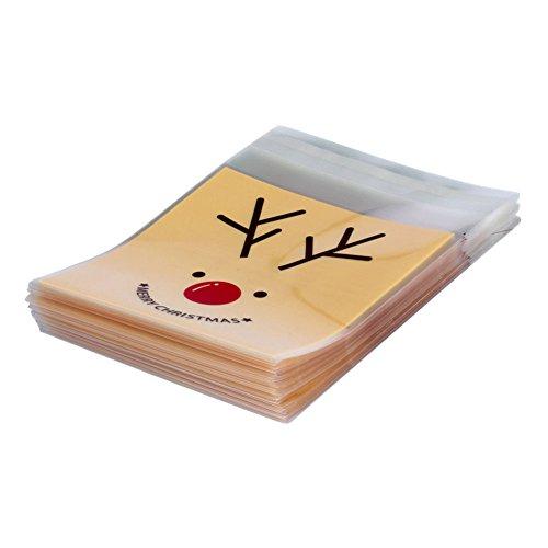 Leisial Selbstklebende Geschenkpackungen aus Zellophan-Kunststoff für Süßigkeiten, Bars, Hochzeit, Jahrestag, Weihnachten, Party, 100 Stück, Elk Printed, 10 x 10 CM - Candy-bar-handys