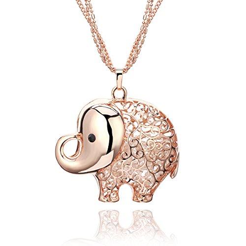 Collar para Mujer, Collar con colgante a forma de elefante collar largo de cadena de cristal collar con brillantes para niña oro rosa