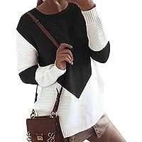 Suéter Mujer Casual Mujer de punto de manga larga Cárdigan Abrigo largo Chaqueta By LMMVP (XL, Negro)