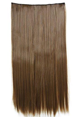 PRETTYSHOP Clip en extensions, l'extension de cheveux, morceau de cheveux, de fibres synthétiques résistant à la chaleur, lisse, 60cm brun #6 C57