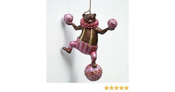 Deko Hänger Christbaumschmuck pink Crazy Christmas braun 12 cm Bär auf Ball