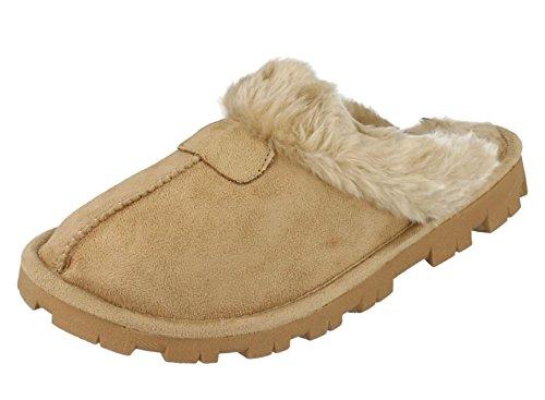 Frauen Velourslederimitat, Kunstpelzmantel Pantoffeln Hausschuh Frauen Hausschuhe Größe UK 345678 - brun Clair