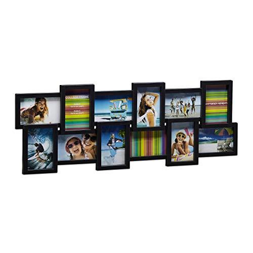 Relaxdays Collage, Bildergalerie, Fotorahmen XL zum Aufhängen, mehrere Fotos, schwarz Bilderrahmen 82 x 20 cm 12 Bilder, Plastik, 10 x 15 cm