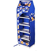 Ebee Collapsible Wardrobe Without Wheels (Blue, 6 Shelves)