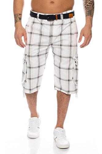 Herren Shorts Dehnbund Bermuda Kurze Hose Stretch Verschiedene Farben ID230, Größe:L;Farbe:Weiß