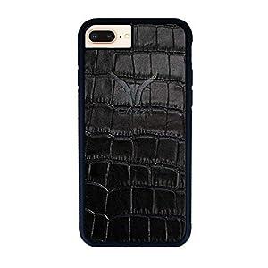GAZZI iPhone 8 Plus, iPhone 7 Plus Hülle Case Schale BackCover Lederhülle Handyhülle Schutzhülle Echt Leder, Rundumschutz, Flexible Schale, KROKO SCHWARZ