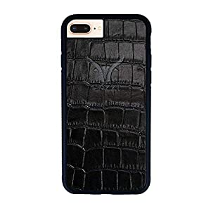 GAZZI iPhone 8 Plus, iPhone 7 Plus Hülle Case Schale BackCover Lederhülle Handyhülle Schutzhülle Echt Leder, Rundumschutz, Flexible Schale, KROKO SCHWARZ