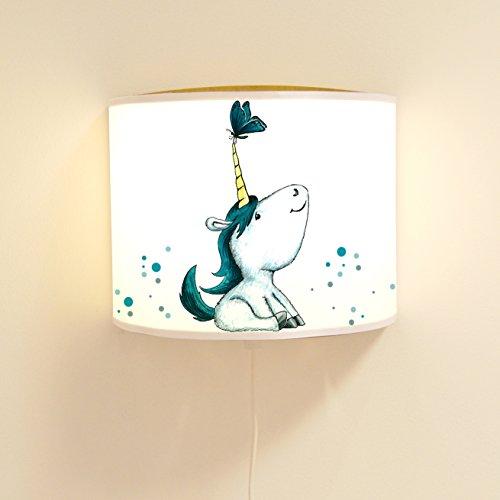 ilka-parey-wandtattoo-welt-Leseschlummerlampe-Leselampe-Schlummerlampe-Wandlampe-Kinderlampe-Lampe-Einhorn-mit-Schmetterling-und-Punkten-Ls35