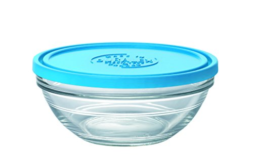 DURALEX Lys 9066AM06ensaladera redonda (con tapa cristal transparente/azul, 17,2cm)