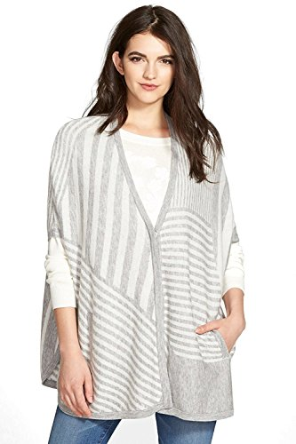 Splendid Geo Stripe Blanket Poncho for Women in Heather Grey, Medium