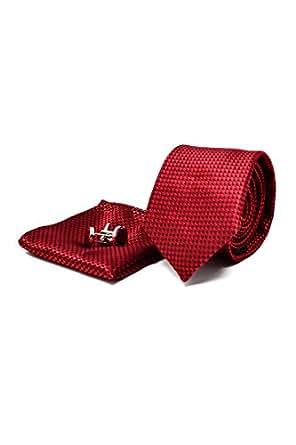 Coffret Ensemble Cravate Homme, Mouchoir de Poche, Boutons de Manchette Rouge Bordeaux - 100% en Soie - Classique, Elégant et Moderne - (Idéal pour un cadeau, un mariage, avec un costume, au travail…)