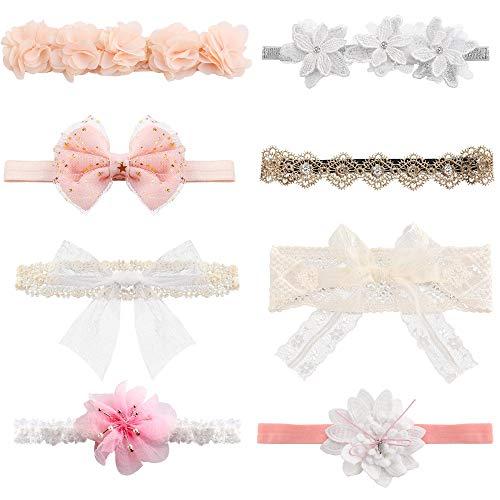 Baby Mädchen Stirnbänder Super Stretchy Stirnband und Bögen für Neugeborene Spitze Blütenblätter Blume Haarschmuck Baby Mädchen Geschenk ()
