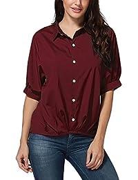 Chemisier Femme Col Cassé Chic Bouton Manche Courte Couleur Unie Uni Tops  Blouse T-Shirt 85b14800749