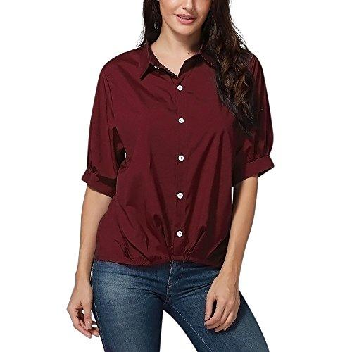 OSYARD Damen Solide Knopf-Halbe Hülsen-Oberseiten-Blusen-T-Shirt(EU 44/M, Wein)