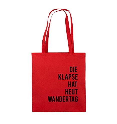 Comedy Bags - DIE KLAPSE HAT HEUT WANDERTAG - Jutebeutel - lange Henkel - 38x42cm - Farbe: Schwarz / Weiss Rot / Schwarz