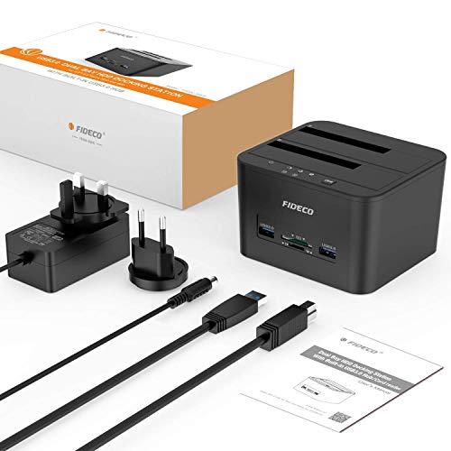 Docking Station, FIDECO Station d'accueil pour 2 Disques Durs SATA USB 3.0 Fonction Clonage Disque Dur 2,5 Pouces et 3,5 Pouces HDD SSD SATA