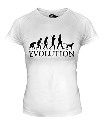 CandyMix Epagneul Breton Evolution Des Menschen Und Hund Damen T Shirt, Größe 3X-Large, Farbe Weiß (Spaniel-weiß T-shirt Brittany)