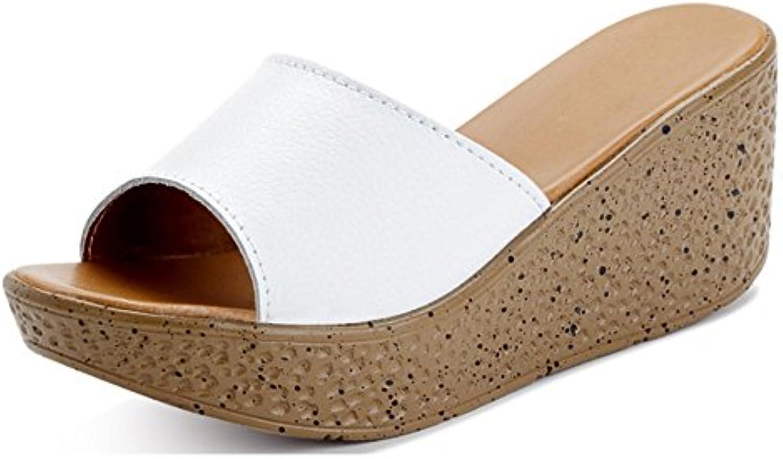 Sandalias Zapatillas de verano zapatillas magdalenas femeninos pendiente exterior con Pantuflas de moda Zapatillas...