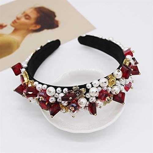 Xyydn Jeweled barockes Stirnband-Frauen-Hochzeits-Braut-Juwel-Kristallhaarband-Diamantrhinestone-Damen-Elegante Haar-Zusatz-Kopfbedeckung (Color : D)