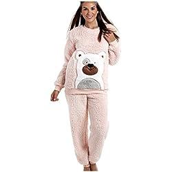 Camille - Pijama de peluche supersuave - Diseño con oso - Rosa 46/48