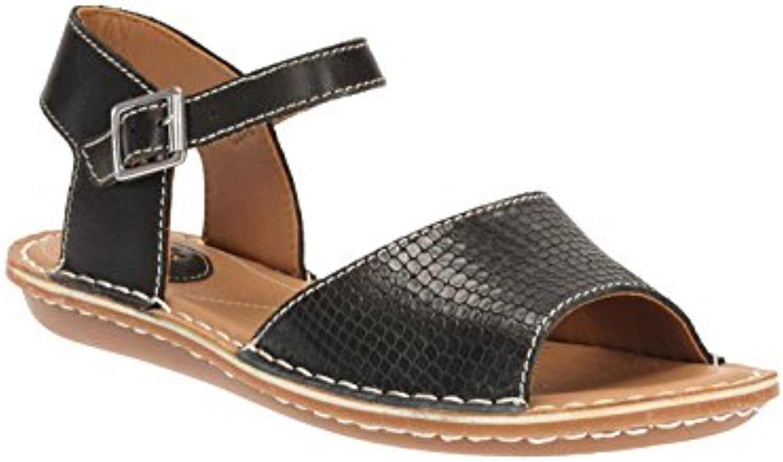 8b1dceaa9 Clarks Tustin Sinitta Sinitta Sinitta Women s Black Leather Wide Fit E Flat  Sandals UK 5.5E