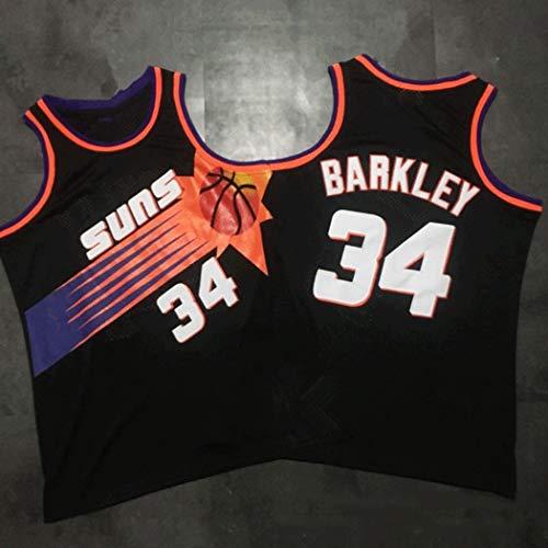 Verakee Charles Barkley Rebounds Zugstufe for Sonnen 76ers # 34 Jersey BaumwollSleeveless Basketball-Hemd Trainingsbekleidung (Color : Blue, Size : M)