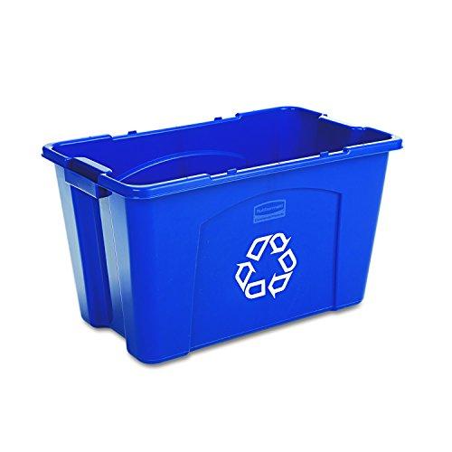 Rubbermaid Polyethylen 18-gallon kommerzielleres Stapeln, Papierkorb, rechteckig, 40,6cm Breite x 65,4cm Länge x 37,5cm Höhe, Blau -