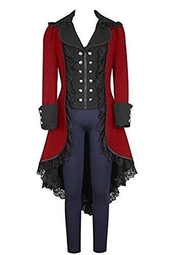 lancoszp Abrigo Gotico de Mmujer Chaqueta Victoriana Steampunk Rojo, XL
