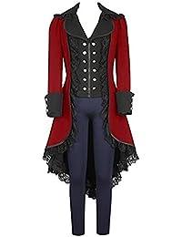 prettycos Femme Halloween Steampunk Manteau Gothique Victorien Costume  Vintage Queue de morue avec Dentelle 1ef77a8cc48