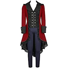 lancoszp Abrigo Gotico de Mmujer Chaqueta Victoriana Steampunk Negro/Rojo