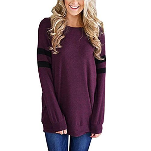 Yogogo Femme Manches Longues Blouse Sexy Bandage Solide Backles Tunique Rayé Tee Shirt Mode Hemd Tunika Col Rond Basic Shirt Elegant Tunique Pull Violet