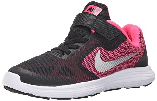 Nike Revolution 3 (Psv), Mädchen Laufschuhe, Schwarz (Black/Metallic Silver-Hyper Pink-White), 34 EU (2 UK) - 2 Revolution Mädchen Nike