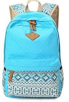 Imagen de icase4u® 2015 multi función moda  bolsa escolar tipo casual bonita de lona de viaje  de marcha para picnic para mujer o chica buena calidad polka dot azul1