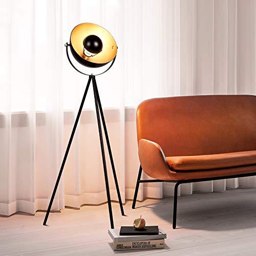 Albrillo Lámpara de Pie Vintage - Lámpara de Suelo, pantalla negra-dorada mate, casquillo E27, máx. 60W, diseño retro, 140cm con interruptor de cable y pie, métalica, para salón, dormitorio y estudio