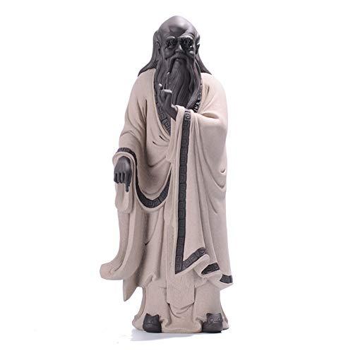 LPRWEC Keramik Kreative Skulptur Zisha historische Figur Taoist Laozi Handmade Abstrakte Statue Home Office Dekor Raum Kabinett Handwerk Kunst Ornamente Retro Dekorative Skulptur Geschenk