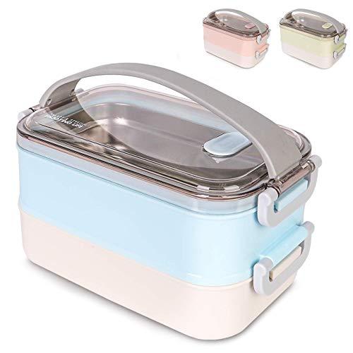 OldPAPA Kitchen Bento Lunch Box, Zwei Abteilungen brotdose Schule für Gericht Vorbereitung, Erwachsene & Kinder. Auslaufsicher, Waschmaschinen sicher