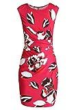 Anna Field Sommerkleid für Damen - Etuikleid mit Kurzarm - Jerseykleid mit Blume - Kleid in Pink, L