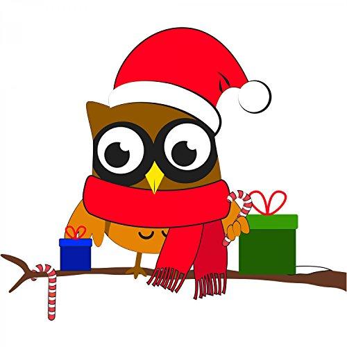 Fashionalarm Herren T-Shirt - Weihnachtseule | Fun Shirt als Geschenk Idee Weihnachten Heiligabend Nikolaus Weiß