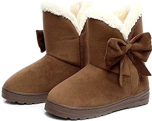Flabor Damen Winter Schneestiefel Winterstiefel Stiefeletten Schlupfstiefel Boots Warm Martin Stiefel Winterschuhe