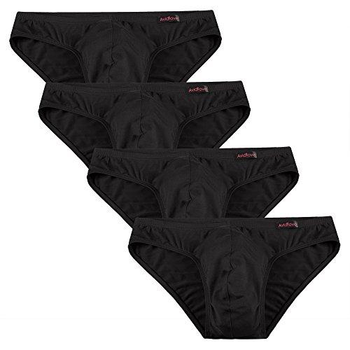 Avidlove Herren Unterwäsche 4er Pack, Slips Micro Modal - seidenweich Unterhose 4 x Schwarz